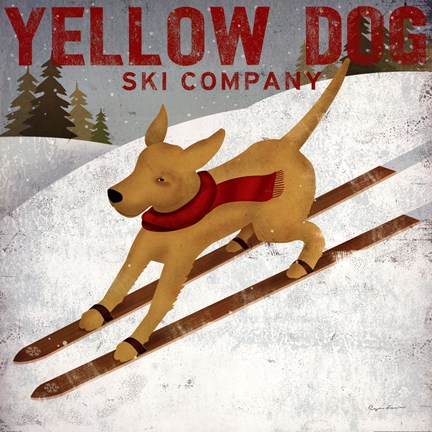 Framed Yellow Dog Ski Co Print
