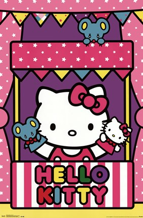 Framed Hello Kitty - Puppets Print