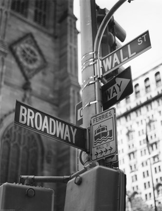 Framed Broadway and Wall Street Print