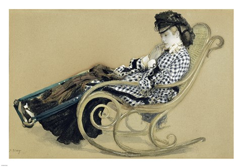 Framed Young Woman in a Rocking Chair, study for the The Last Evening Print