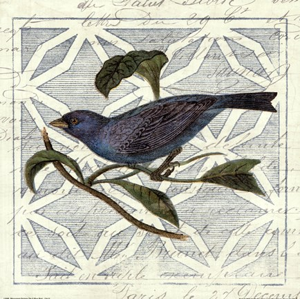 Framed Monument Etching Tile II Blue Bird Print