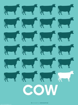 Framed Cow Poster Print