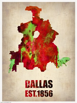 Framed Dallas Watercolor Map Print