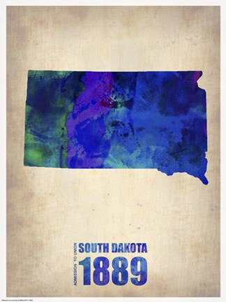 Framed South Dakota Watercolor Map Print