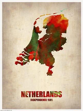 Framed Netherlands Watercolor Map Print