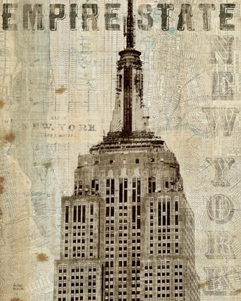 Framed Vintage NY Empire State Building Print
