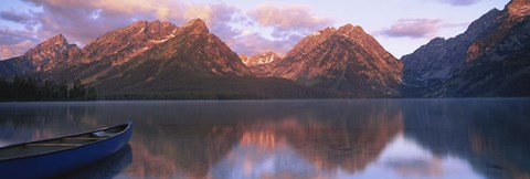 Framed Reflection of mountains in a lake, Leigh Lake, Grand Teton National Park, Wyoming, USA Print