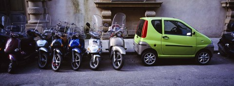 Framed Motor scooters with a car parked in a street, Florence, Italy Print