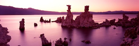 Framed Rock formations in a lake, Mono Lake, California, USA Print