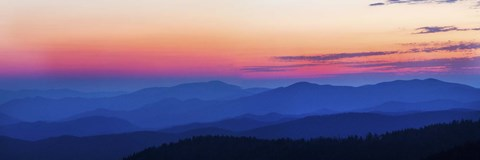Framed Blue & Pink Sunset at Clingmans Dome,Tennessee Print