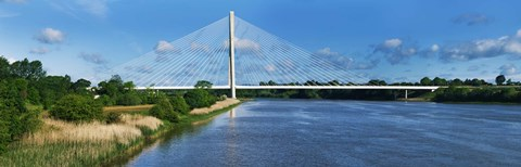 Framed Cable stayed bridge across a river, River Suir, Waterford, County Waterford, Republic of Ireland Print
