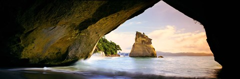 Framed Rock formations in the Pacific Ocean, Cathedral Cove, Coromandel, East Coast, North Island, New Zealand Print