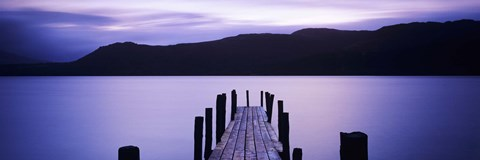 Framed Jetty at Brandelhow Bay, Derwent Water, Lake District National Park, Cumbria, England Print