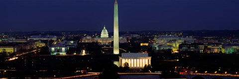 Framed Buildings Lit Up At Night, Washington Monument, Washington DC, District Of Columbia, USA Print
