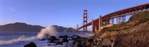 Framed Bridge across the bay, San Francisco Bay, Golden Gate Bridge, San Francisco, Marin County, California, USA Print