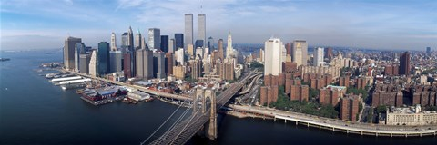Aerial view of Brooklyn Bridge and Manhattan skyline, New York City, New York State, USA by Panoramic Images