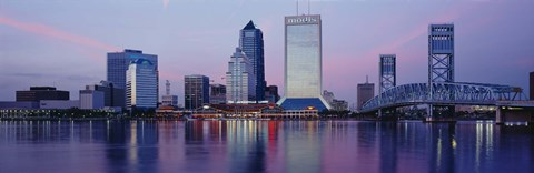 Framed Skyscrapers On The Waterfront, St. John's River, Jacksonville, Florida, USA Print