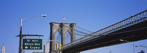 Framed Low angle view of a bridge, Brooklyn Bridge, Manhattan, New York City, New York State, USA Print