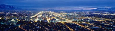 Framed Aerial view of a city lit up at dusk, Salt Lake City, Utah, USA Print