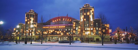 Framed Facade Of A Building Lit Up At Dusk, Navy Pier, Chicago, Illinois, USA Print