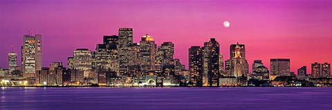 Framed USA, Massachusetts, Boston, View of an urban skyline by the shore at night Print