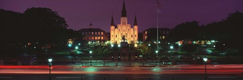 Framed Buildings lit up at night, Jackson Square, St. Louis Cathedral, French Quarter, New Orleans, Louisiana, USA Print