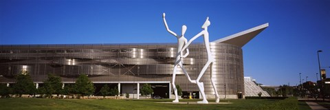 Framed Dancers sculpture by Jonathan Borofsky in front of a building, Colorado Convention Center, Denver, Colorado Print