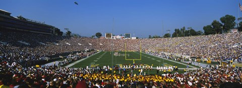 Framed High angle view of a football stadium full of spectators, The Rose Bowl, Pasadena, City of Los Angeles, California, USA Print