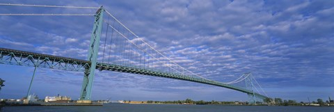 Framed Low angle view of a suspension bridge over the river, Ambassador Bridge, Detroit River, Detroit, Michigan, USA Print