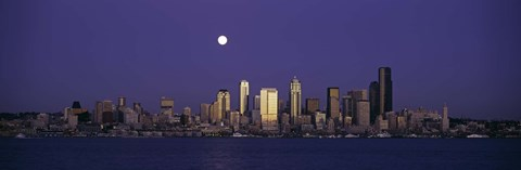 Framed Full moon over Seattle, Washington State Print