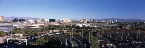 Framed Roads in a city with an airport in the background, McCarran International Airport, Las Vegas, Nevada Print