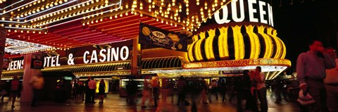 Framed Casino lit up at night, Four Queens, Fremont Street, Las Vegas, Clark County, Nevada, USA Print