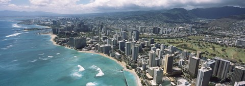 Framed Aerial view of buildings at the waterfront, Waikiki Beach, Honolulu, Oahu, Hawaii, USA Print
