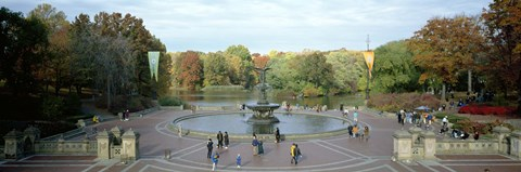 Framed Tourists in a park, Bethesda Fountain, Central Park, Manhattan, New York City, New York State, USA Print