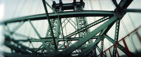 Framed Low angle view of a suspension bridge, Williamsburg Bridge, New York City, New York State, USA Print