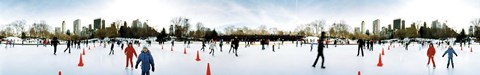 Framed 360 degree view of tourists ice skating, Wollman Rink, Central Park, Manhattan, New York City, New York State, USA Print