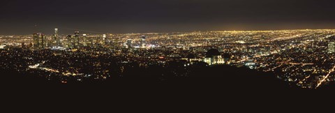 Framed Night View of Los Angeles from the Distance Print