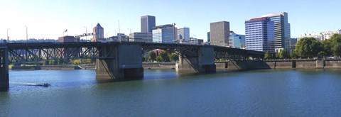 Framed Bridge across a river, Burnside Bridge, Willamette River, Portland, Multnomah County, Oregon, USA 2010 Print
