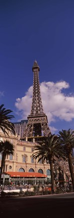 Framed Low angle view of a hotel, Replica Eiffel Tower, Paris Las Vegas, The Strip, Las Vegas, Nevada, USA Print