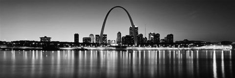 Framed Black and white view of St. Louis, Missouri Print