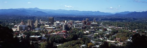 Framed Aerial view of a city, Asheville, Buncombe County, North Carolina, USA 2011 Print