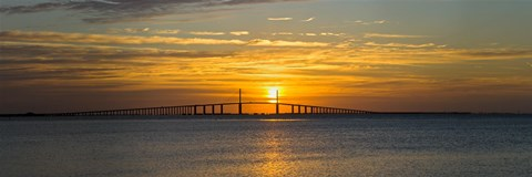 Framed Sunrise over Sunshine Skyway Bridge, Tampa Bay, Florida, USA Print