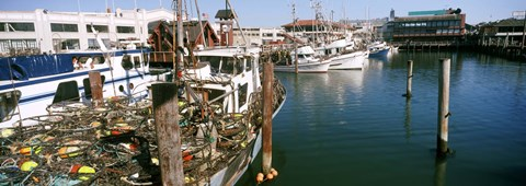 Framed Fishing boats at a dock, Fisherman's Wharf, San Francisco, California, USA Print