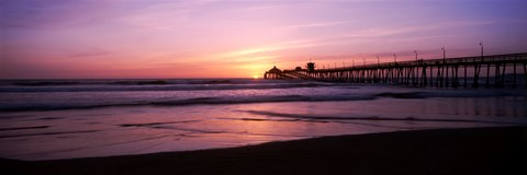 Framed Pier in the pacific ocean at dusk, San Diego, California Print