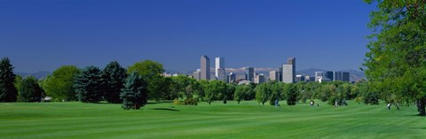 Framed Skyline In Daylight, Denver, Colorado, USA Print