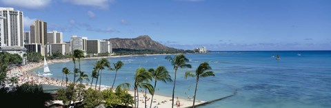 Framed Buildings On The Beach, Waikiki Beach, Honolulu, Oahu, Hawaii, USA Print
