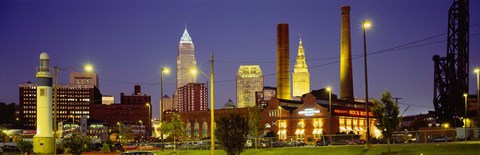 Framed Buildings Lit Up At Night, Cleveland, Ohio Print