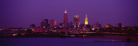 Framed Cleveland, Ohio Lit Up at Night Print