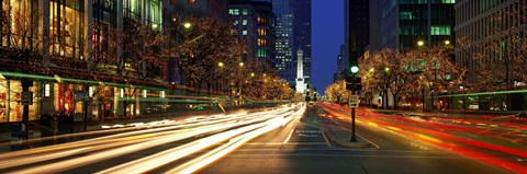 Framed Blurred Motion, Cars, Michigan Avenue, Christmas Lights, Chicago, Illinois, USA Print