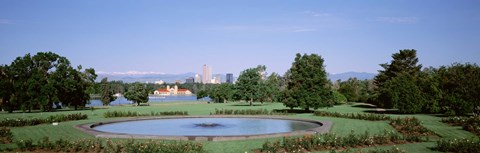 Framed Formal garden in City Park with city and Mount Evans in background, Denver, Colorado, USA Print